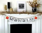 Mahalo Banner - Thank You Sign - Hawaiian Thanks - Hawaii Wedding - Hibiscus Flower - Wedding Decoration - Thank You Photo - Wedding Garland