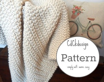 Knitting Pattern - Chunky Knit Wool Blanket Throw - Soft and Squishy Wool Blanket - Home Decor