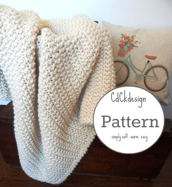 Knitting Pattern Chunky Wool Blanket : Knitting Pattern Chunky Knit Wool Blanket Throw Soft and