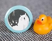 Yin Yang Cats - 55mm - Badge - Keyring - Pocket Mirror - Magnet