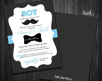 "Customizable ""Little Man"" Mustache Baby Shower Invitation 5X7 (Digital File)"
