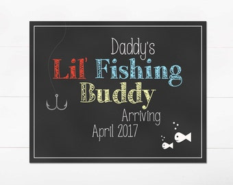 Pregnancy Announcement - Daddy's Lil' Fishing Buddy - DIGITAL 8x10 Chalkboard Print - Red Blue Yellow - Printable JPEG Instant Download