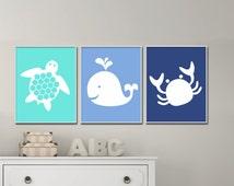 Nautical Nursery Baby Boy Wall Art Print, Baby Boy Sea Turtle, Whale and Crab Wall Art, Boys Bedroom Decor-N727,728,729-Unframed