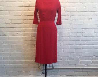 1960s Red Ribbed Wiggle Dress // 60s Red Dress // Vintage 1960s Manford Dress