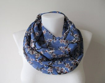 Floral Infinity Scarf, Blue Circle Scarf, Chiffon Infinity Scarf, Women Scarf, Fall Winter Spring Summer Fashion, Gift for Her
