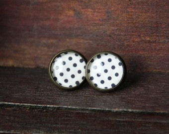 Earrings, 12 mm, bronze, polka dots