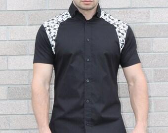 Geometric detail shoulder loose slim fit shirt,  Stylist shirt,  Casual shirt, short sleeve shirt, Handmade shirt