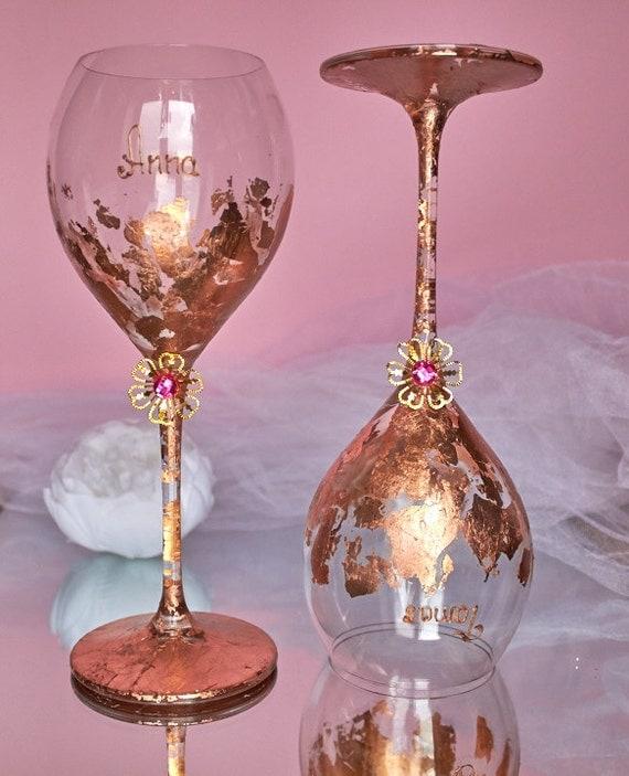 Bronze Wine Glasses Gold Wedding Glasses Personalized Wedding