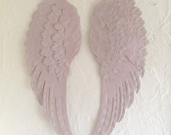 large Angel wings, Sale, metal shabby chic pale pink/ blush, wall decor, nursery decor