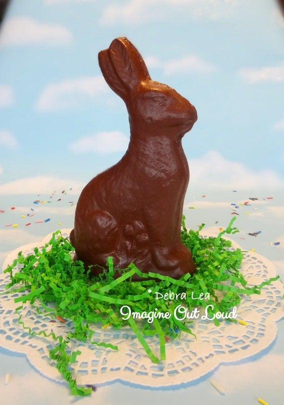 LARGE  Fake CHocolate Bunny Rabbit Handmade Faux Easter Centerpiece Basket Filler Prop Kitchen Decor