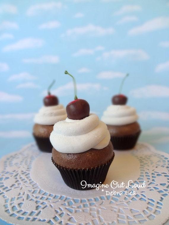 Fake Cupcake Chocolate Covered Cherry on Cream Kitchen Decor food Prop Display