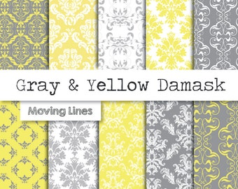 Damask Digital Paper Pack, Gray and Yellow Wallpaper, Wedding, Birthday Scrapbooking Craft Papers, Grey Victorian Lace