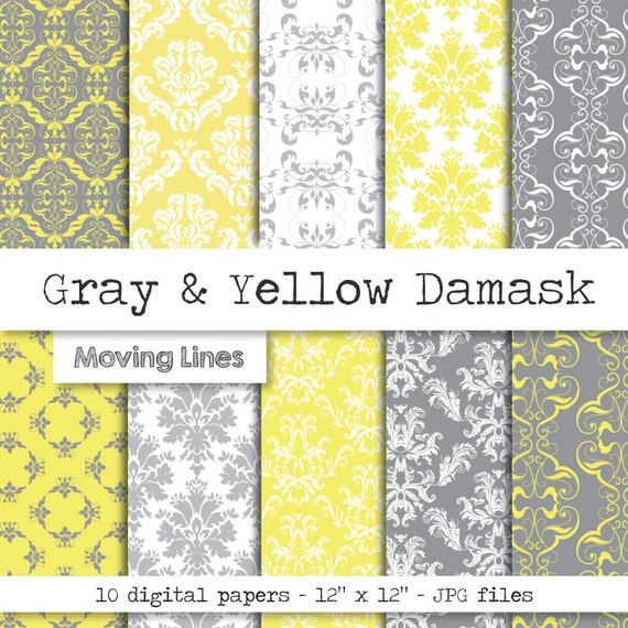Damask digital paper pack gray and yellow wallpaper wedding - Gray and yellow wallpaper ...