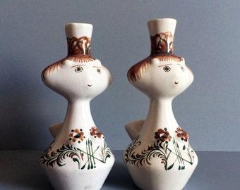 Pair of Mid-Century Ceramic Candle Holders/Bud Vase Girls Creatures