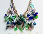 Fae Woods Necklace - Woodland Raised - Green, blue, silver, gold, pink, fantasy, bib, ornate, detailed, baubles, statement necklace
