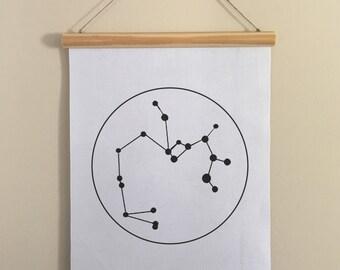Zodiac Sign banner, tapestry, wall hanging, Aries, Taurus, Gemini, Cancer, Leo, Virgo, Libra, Scorpio, Sagittarius, Capricorn, Aquarius