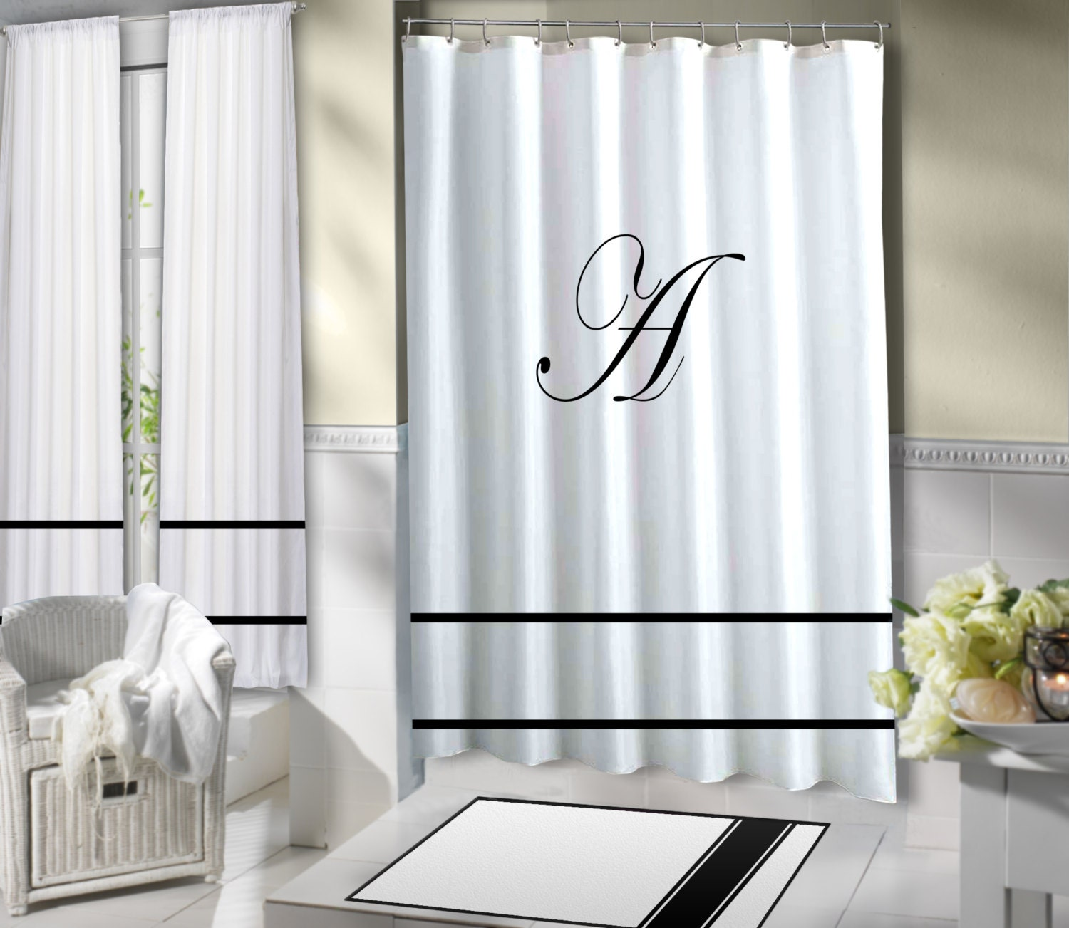 Shower Curtain Monogram Shower Curtain Fabric White