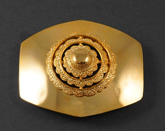 "Octagon GOLD Metal Belt Buckle, Vintage Fashion Jewelry by 1 pc, 3'' x 2-1/2"", LT-5480"