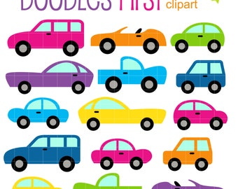 Colorful Tiny Cars Clip Art for Scrapbooking Card Making Cupcake Toppers Paper Crafts