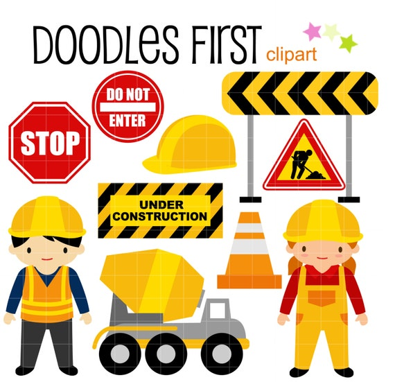 Construction Kids Digital Clip Art For Scrapbooking Card Making Cupcake Toppers Paper Crafts