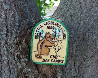 Animal Patch, Camp Embroidered Patch, Chipmunk Vintage Boy Scout Patch, Camping Patch