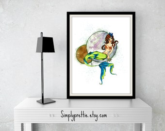 Mermaid Original Artwork Fine Art Print By Kayla Townsend // Ink And Paint