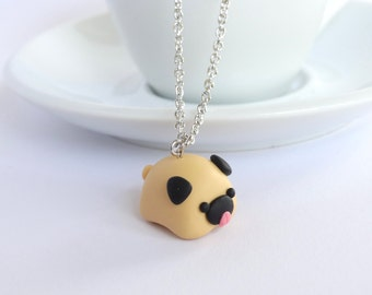 Funny chubby tiny pug charm necklace pendant animal dog jewelry handmade polymer clay