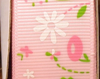 "2 Yards 1""  Pink with Spring Blossom Flower Print Grosgrain Ribbon"