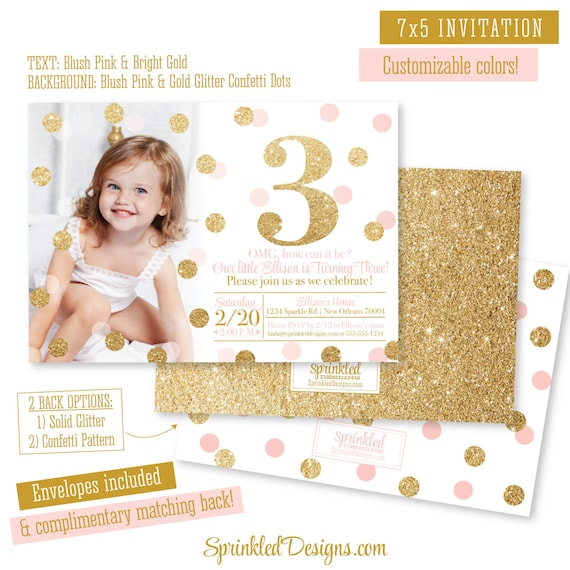 Pink and Gold 3rd Birthday Girl Invitation Photo Card Blush – 3rd Birthday Invitation Cards