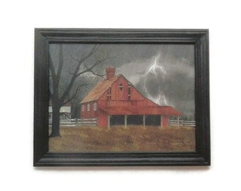 Primitive Home decor, A Dark and Stormy Night, Billy Jacobs, Barn, Art Print, Wall Hanging, Handmade, 28x22 Custom Wood Frame, Made in USA