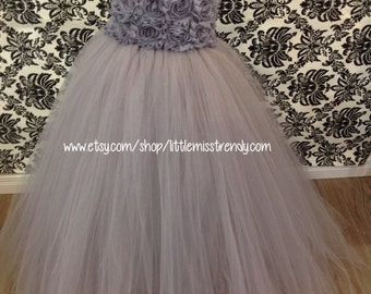 Silver Tutu Dress, Silver Couture Tutu Dress, Long Silver Tutu Dress, Silver Flower Girl Tutu Dress, Silver Flower Girl Dress, Flower Girl