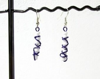 CLEARANCE Purple wire earrings, wire wrapped earrings, day earrings, purple and white earrings, lightweight earrings, handmade in the UK