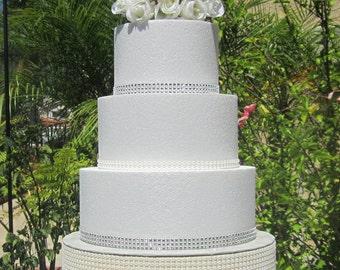 "6"" to 22"" Round Faux Pearl Wedding Cake Stand, Riser, Platform - Ivory or White Faux Pearls - Silver foil cake board top, 4"" tall Styrofoam!"