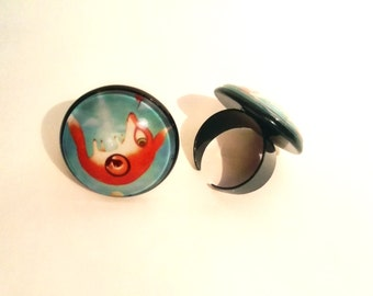"""Colorful ring with print of fox in stardust art by Susann Brox Nilsen painting """"Time traveler"""" lowbrow cartoon big eyes"""