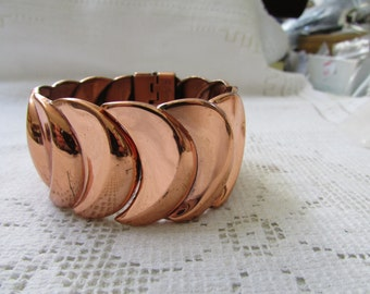 Vintage estate Book Piece Renoir of California Vortex copper clamper bangle  cuff bracelet free ship