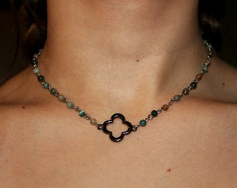 Beaded Clover Necklace