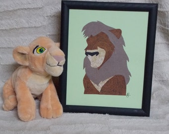 Paper Art - KOVU - The Lion King 2 - Handmade - Silhouette Style - READY to SHIP
