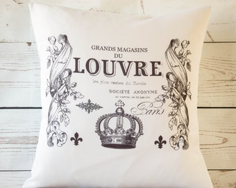 """Paris Louvre - 16"""" Cushion Pillow Cover French Shabby Vintage Chic - UK Handmade"""