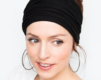 Black Headband Wide Headband Yoga Headband Boho Headband Running Headband Womens Hair Accessories Black Headwrap Head Wrap Hair Wrap