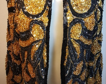 FREE SHIPPING   Vintage 1980 Bead Sequin Jacket