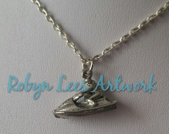 Small 3D Silver Man in Speedboat Charm Necklace on Silver Crossed Chain, Holiday, Water Sports
