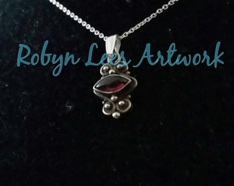 Sterling Silver 925 & Vintage Amethyst Crystal Charm Necklace on Fine 925 Sterling Silver Chain