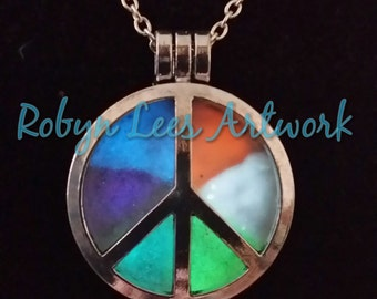SALE Glow in the Dark Multi Coloured Silver Peace Locket on Silver Chain, UV