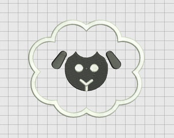 Sheep Fluffy Applique Embroidery Design in 3x3 4x4 5x5 and 6x6 Sizes