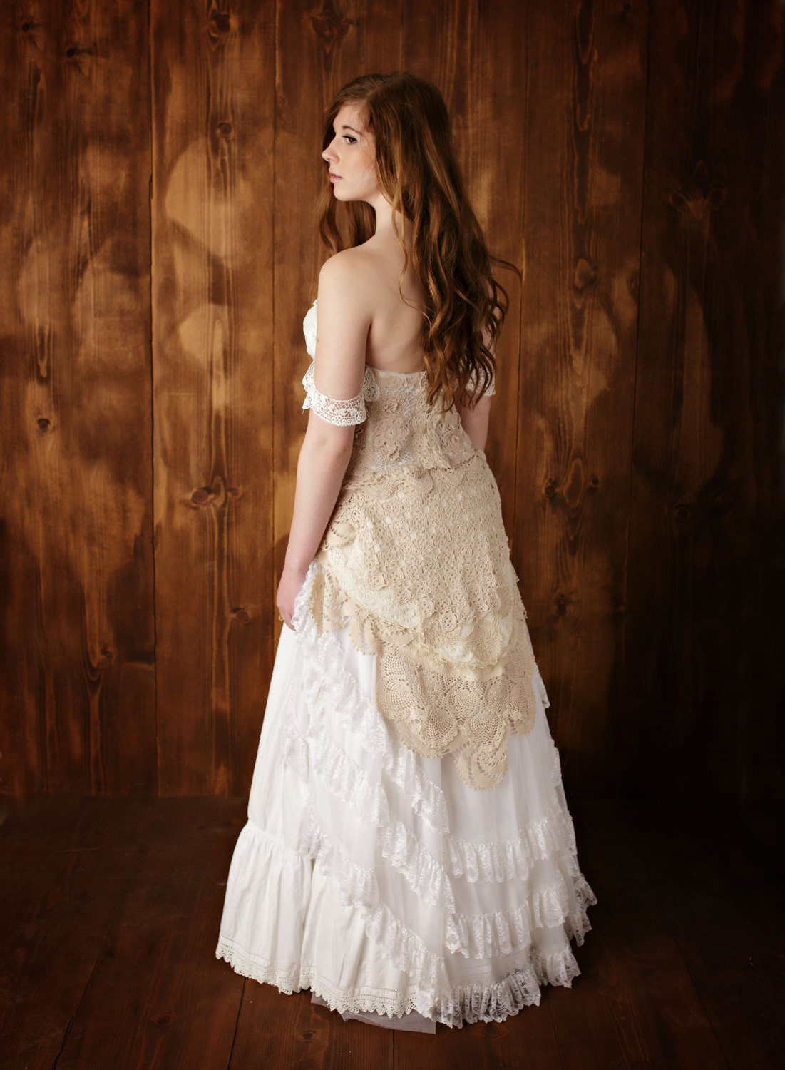 Vintage lace wedding gown rustic romance wedding gown for Romantic vintage lace wedding dresses