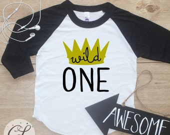 Birthday Boy Shirt / Baby Boy Clothes Crown King Wild One Thing 1 Year Old Outfit First Birthday TShirt 1st Birthday Cake Smash Raglan  021