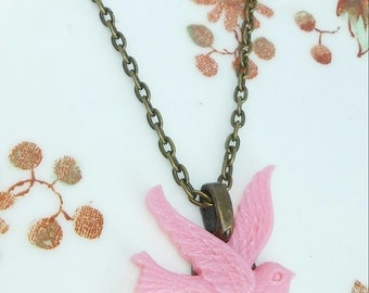 "Pink Swallow Necklace Bird Pendant 20"" Antique Bronze Tone Chain"