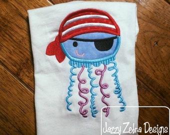 Pirate Jellyfish Applique Embroidery Design - jellyfish appliqué design - jelly fish appliqué design  - pirate appliqué design  - summer