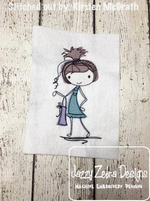 Mod Girl 3 Sketch Embroidery Design - girl Sketch Embroidery Design - shopping Sketch Embroidery Design