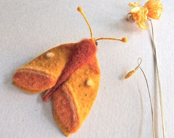 needle felted moth brooch - textile moth - felt moth - butterfly brooch - moth jewellery - fibre moth - rustic moth - orange moth - UK
